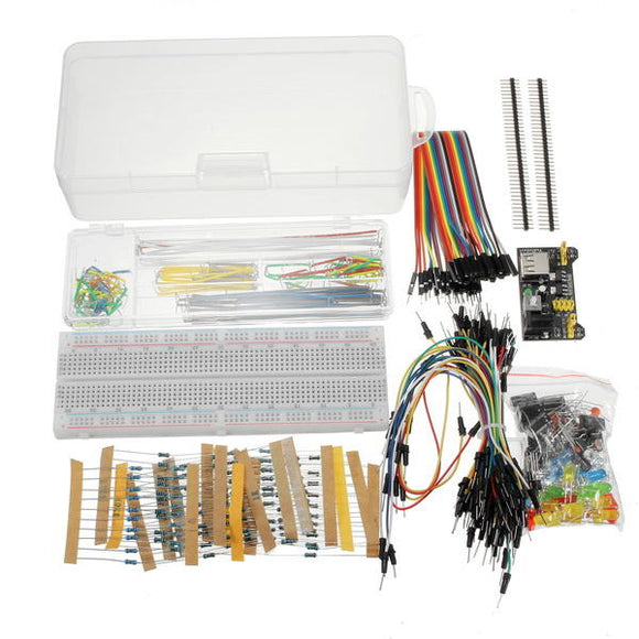 Power Supply Module 830 Hole Breadboard Resistor Capacitor LED Kit For Arduino Beginner