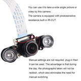 MakerFocus Fisheye Camera 5mp IR-CUT Night-vision Camera for Raspberry Pi4B/3B+/3B/2B