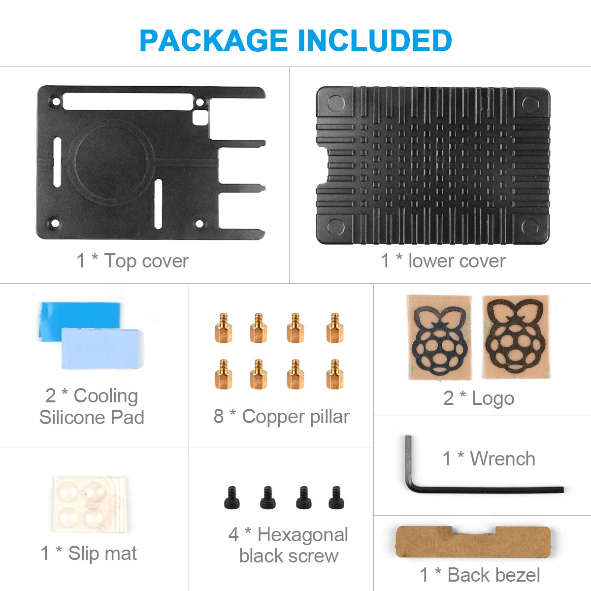 MakerFocus Raspberry Pi 4B Aluminum Alloy Mental Case  with Thermal Conductive Adhesive