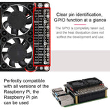 MakerFocus Raspberry Pi 4B GPIO Expansion Board with Dual Fan LED Compatible with RPi 4B/3B+/3B/3A+