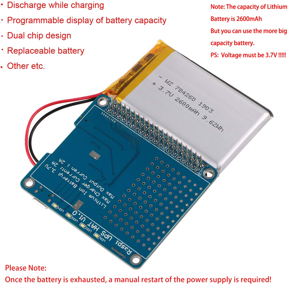 MakerFocus Raspberry Pi Battery Pack UPS HAT Board with 4 LED Power Indicator(2600mAh Battery)