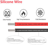 12 Gauge Silicone Wire16.4 Feet (8.2 Feet Black and 8.2 Feet Red) Soft and Flexible Low Impedance