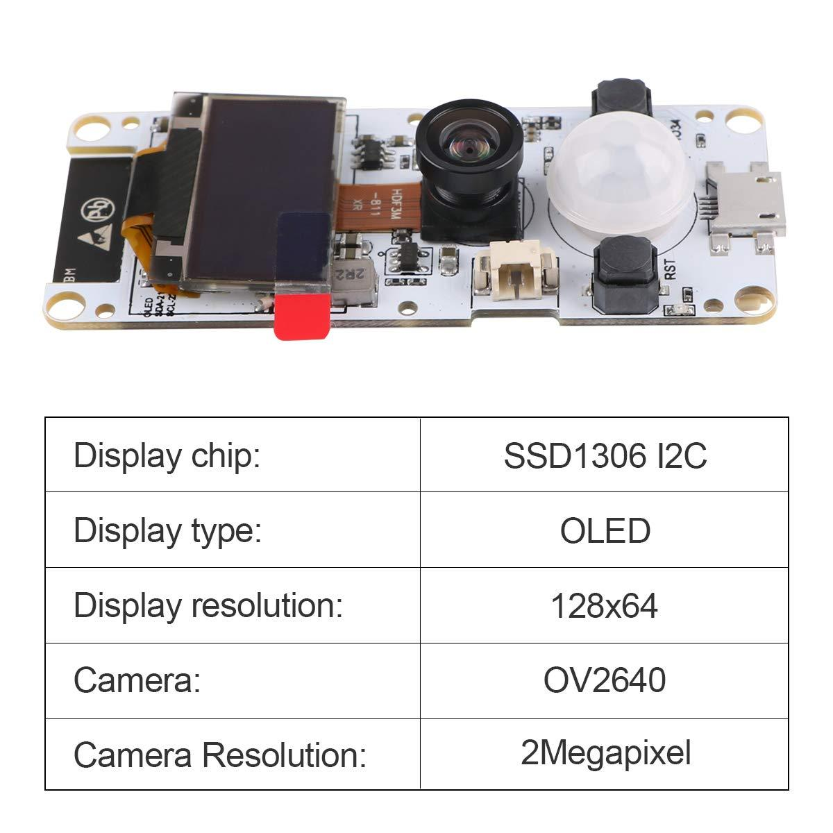 MakerFocus T-Camera ESP32 WROVER OV2640 Camera Module with 0.96 Inch OLED-Fish-Eye Lens