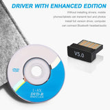 USB Bluetooth Adapter 5.0 Wireless Receiver Transfer Dongle Laptop PC  Windows 10 8.1 8 7 XP Vista