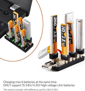 1S LiPo Battery USB Charger 3.8V/4.35V 6 Channel 1S LiHV Charger Tiny Whoop Blade Inductrix Micro