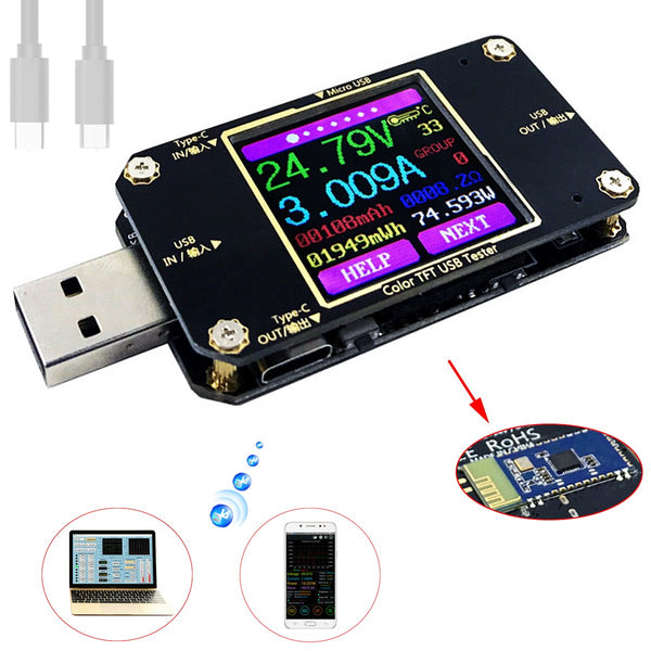 USB voltage tester with Bluetooth