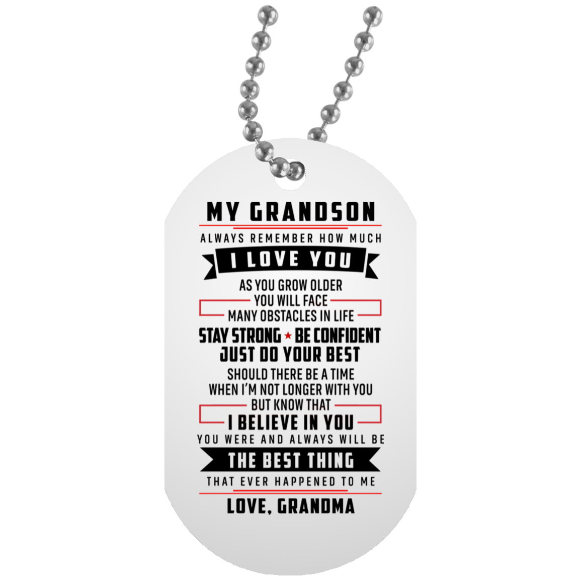 Grandma And Grandson Dog Tag Birthday Gift For Always Remember I Love You