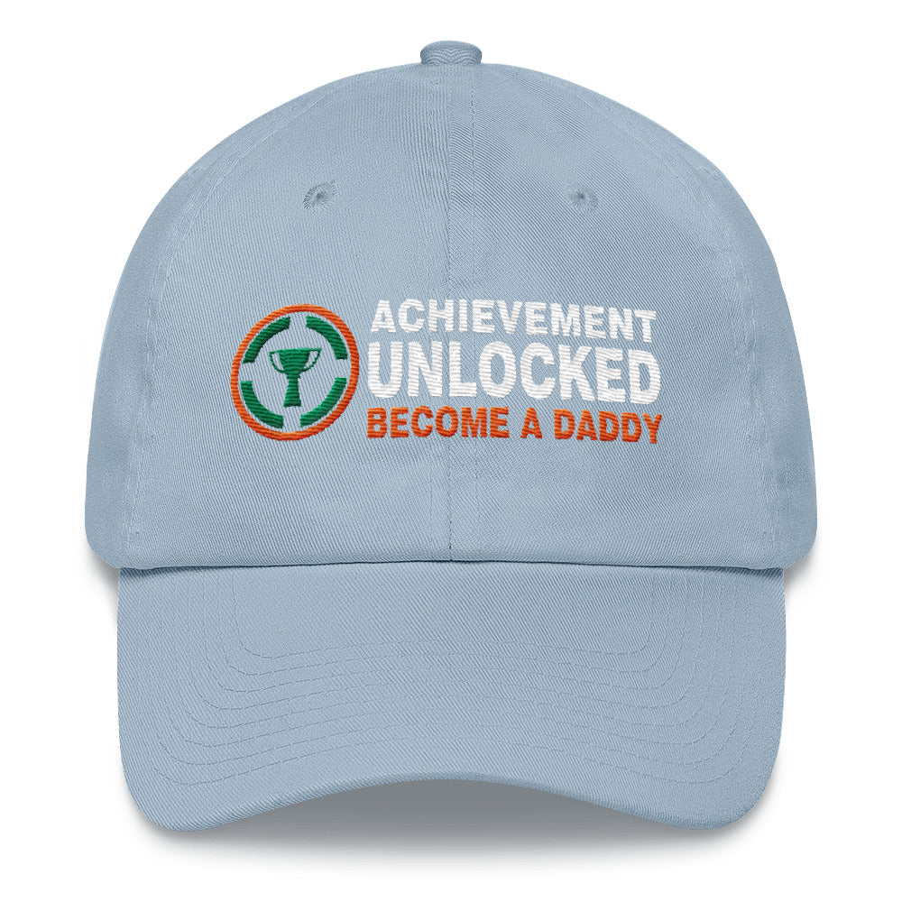 c05fd61813360 ... Embroidery Hats Gift for New Dad Achievement Unlocked Become A Daddy Classic  Cap