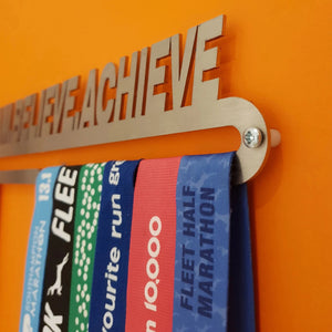 Medal Hanger Display 'Dream Believe Achieve'™ Stainless Steel Medal Holder.