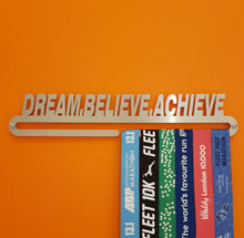Load image into Gallery viewer, Medal Hanger Display 'Dream Believe Achieve'™ Stainless Steel Medal Holder.