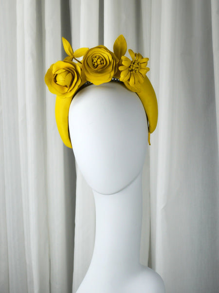 Lemondrop - Yellow Leather Halo Headpiece.