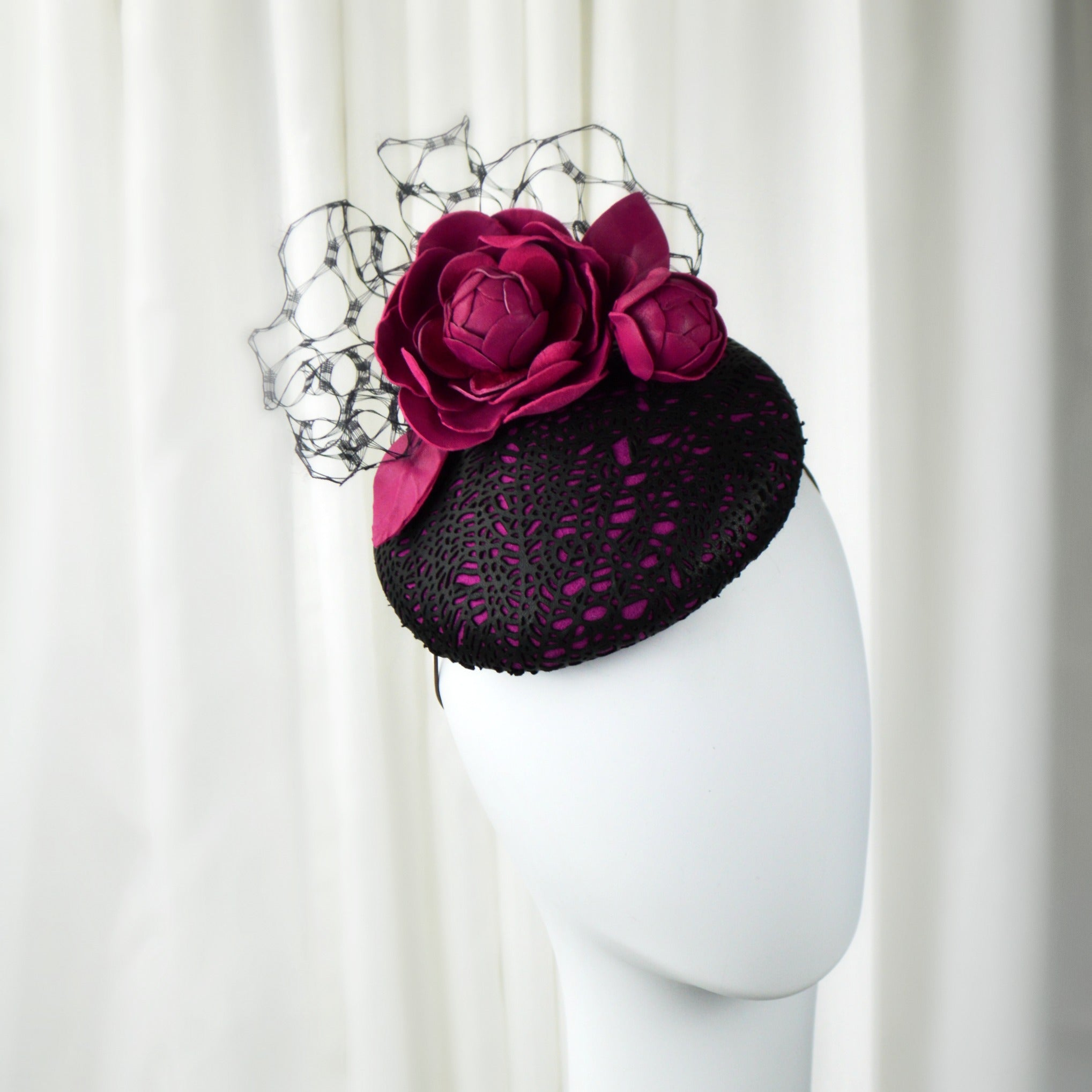 Fuchsia and Black Leather Fascinator