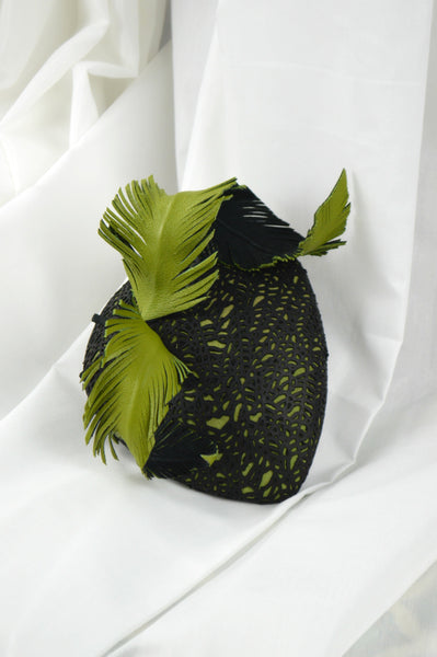 Green and Black Leather Fascinator