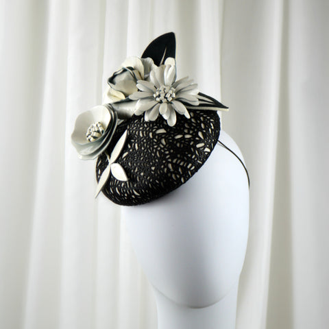 Black and White Leather Kentucky Derby Hat