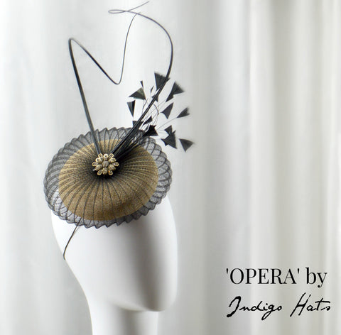OPERA - Black and Gold Button Headpiece