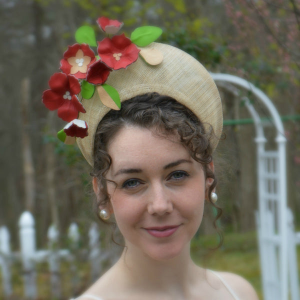 CHELSEA - Natural Crown Headpiece with Red Leather Flowers