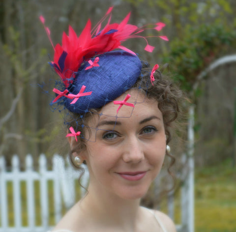 FLOURISH - Pink and Navy Pillbox Fascinator