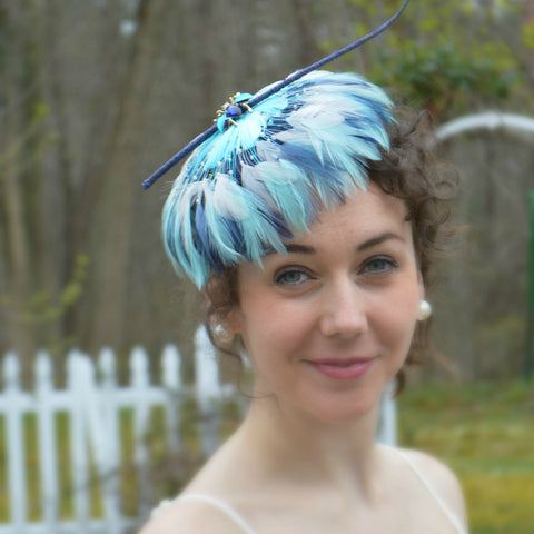 BLUE SKIES - Aqua Feather Button Fascinator