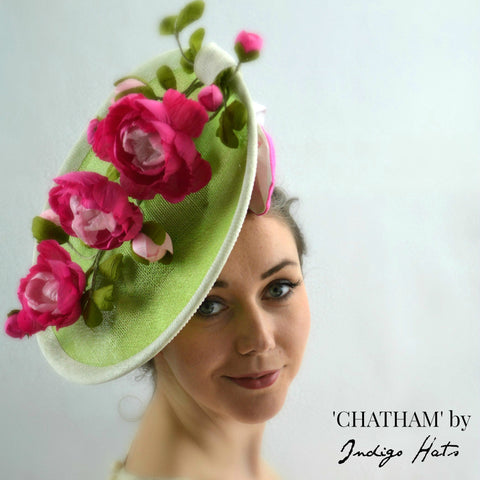 CHATHAM - Pink & Green Saucer Fascinator