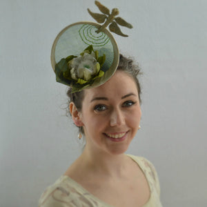 LILY PAD - Green Percher Headpiece with Dragonfly.