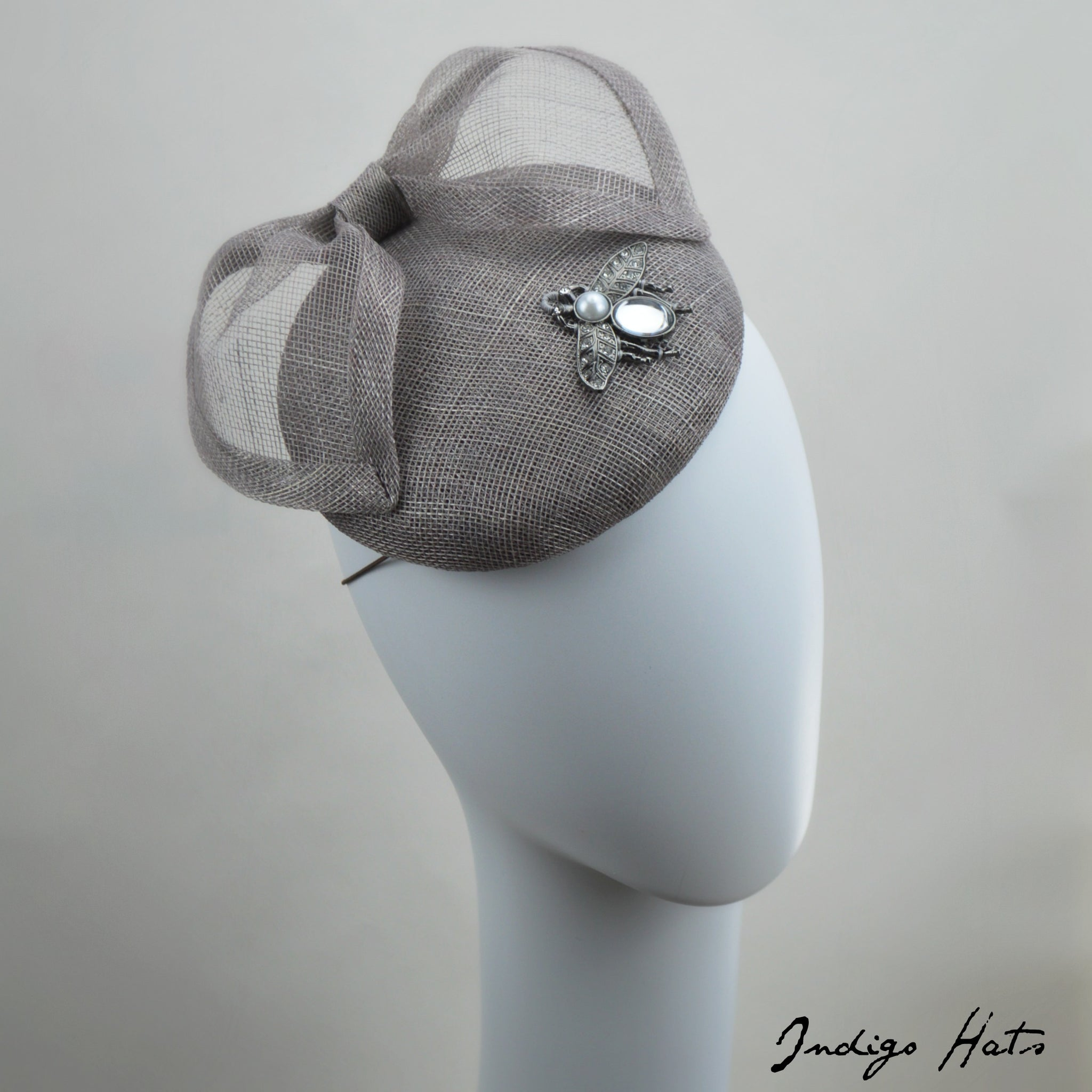 DUBLIN - Gray Pillbox Fascinator