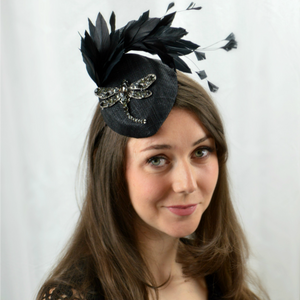 DRAGONFLY - Black Fascinator