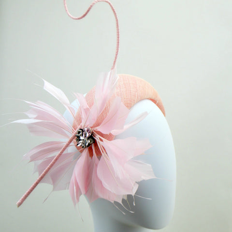 JAZZ - Pink Bandeau Fascinator with feathers