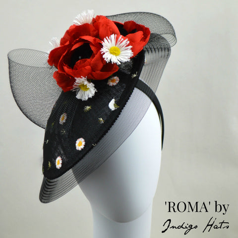 ROMA - Black and Red Saucer Fascinator
