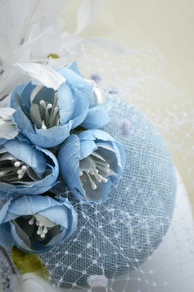 PROVENCE - Gray Blue Button Fascinator