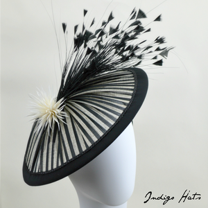 VENICE - Black Striped Saucer Hat