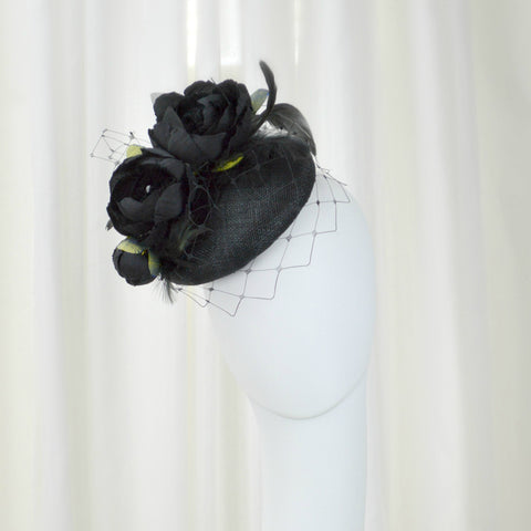 GARDEN PARTY - Black Pillbox Hat