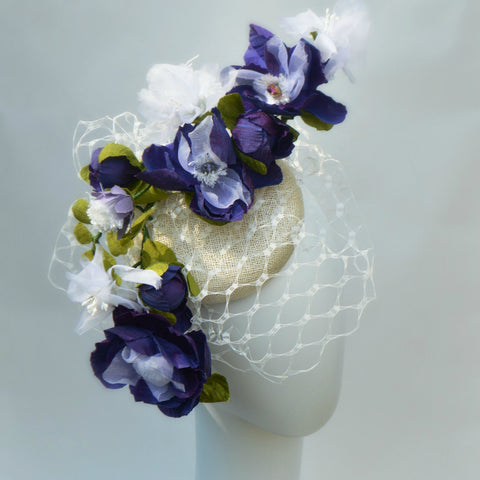 FLEUR - Purple Button Fascinator