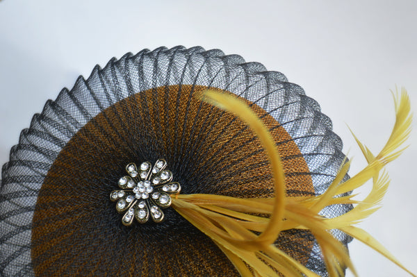 EDINBURGH - Black and Yellow Fascinator