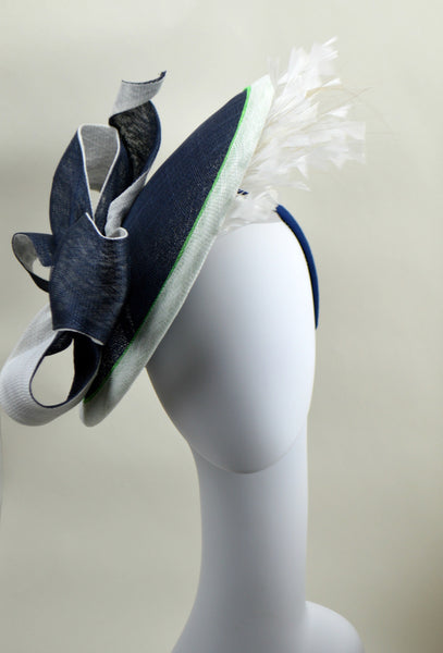 LONDON -  Orchid & Navy Saucer Hat