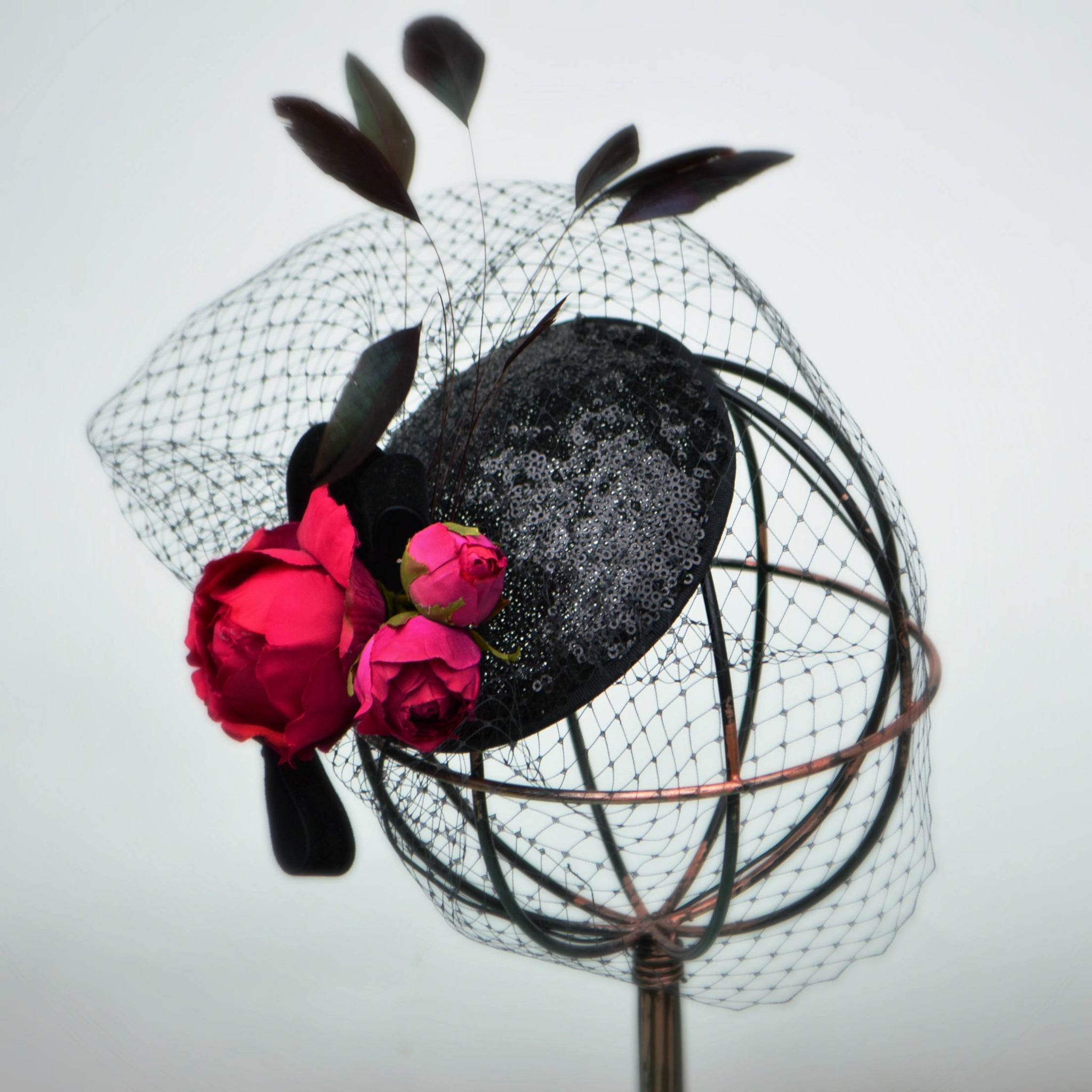 PARIS COCKTAIL HAT - Black and Pink Fascinator