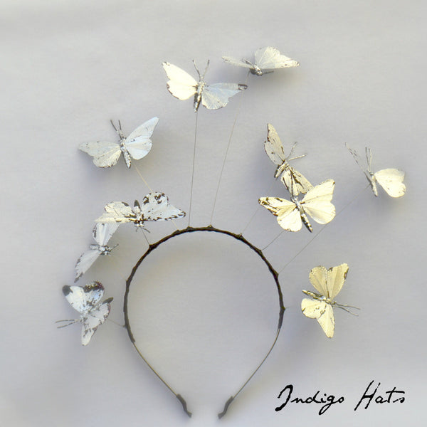 MIDNIGHT -  Silver Leaf Butterfly Headband