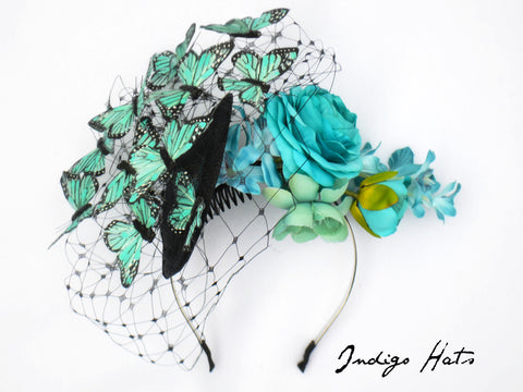 MARIPOSA - Aqua Butterfly Headpiece