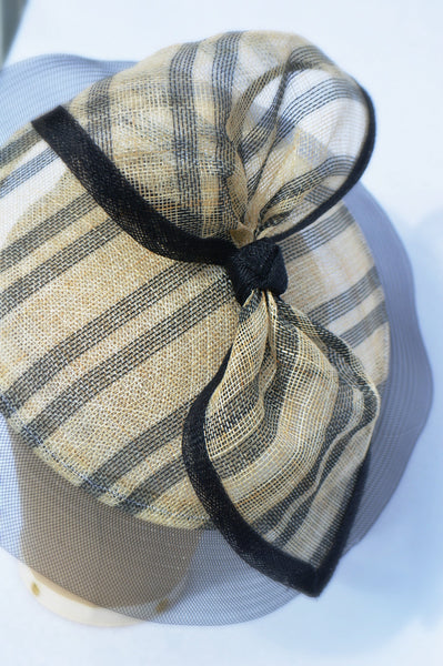 ROMA - Black and Natural Striped Saucer Fascinator