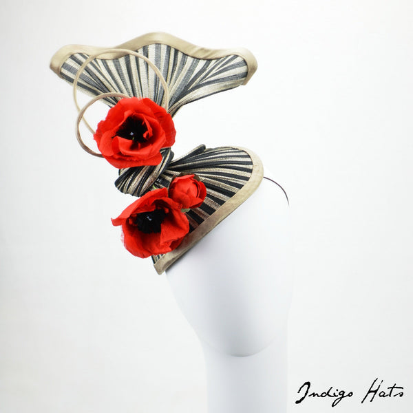 TRAPEZE - Black and Red Fascinator