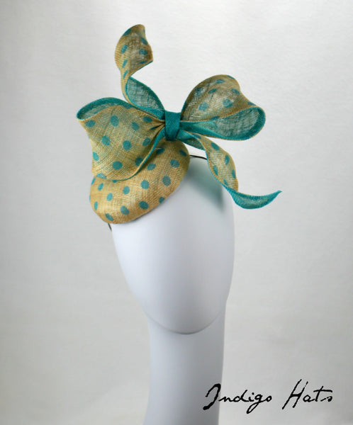 PARIS - Aqua Button Fascinator