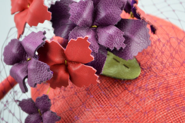 SOHO - Coral and Plum Pillbox Hat