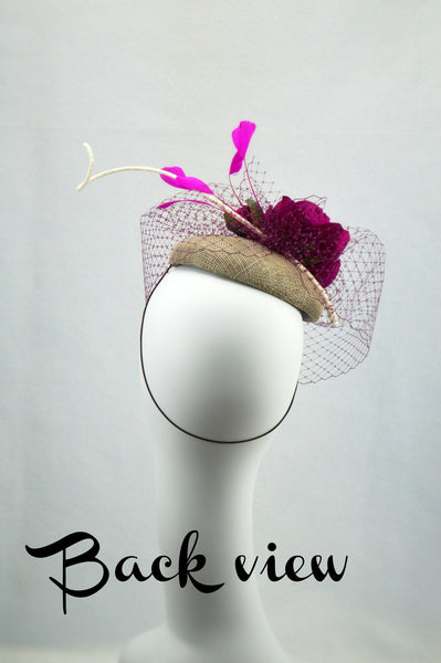 GARDEN PARTY - Fuchsia and Gray Pillbox Hat