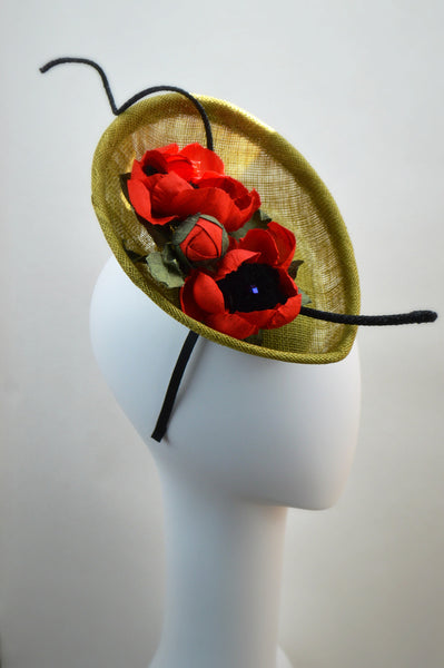PORTOFINO - Olive Green and Red Percher Fascinator