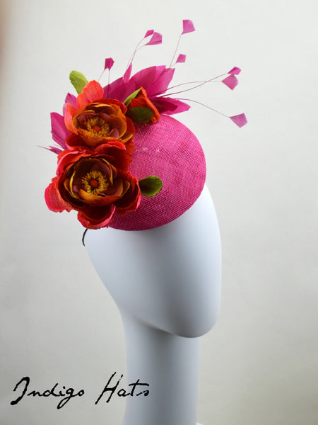 MONACO Hot Pink and Coral Percher Hat