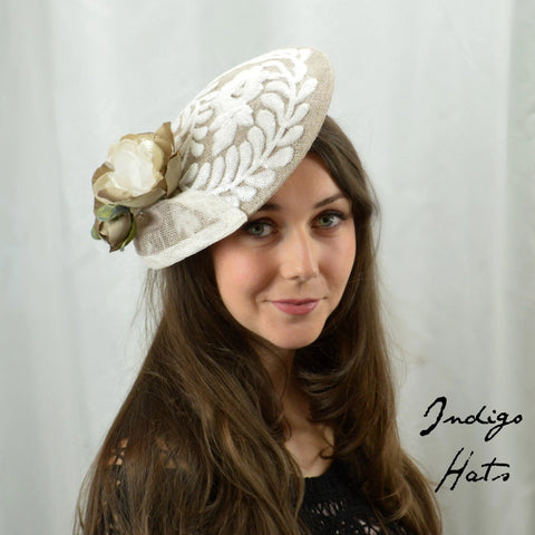 FRENCH GRAY -  Gray Saucer Headpiece