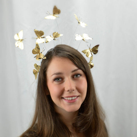 MIDNIGHT - Gold leaf Butterfly Headband