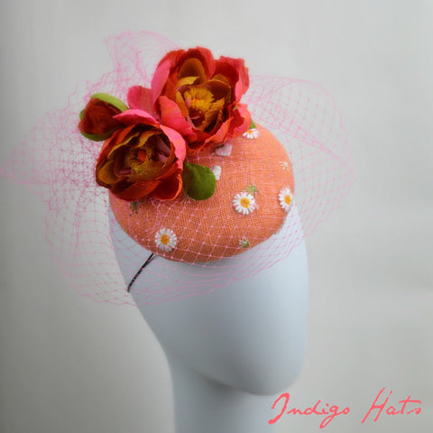 MARGUERITE - Pink and Coral PIllbox Hat