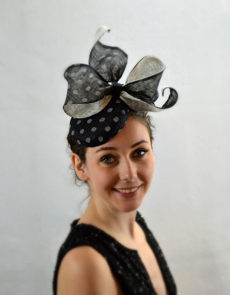 PARIS - Black and White Button Fascinator