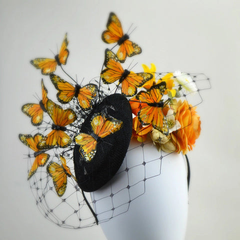 MARIPOSA - Orange and Black Butterfly Headpiece