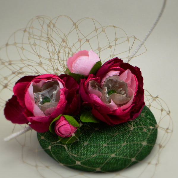 GARDEN PARTY -  Pink & Emerald Pillbox